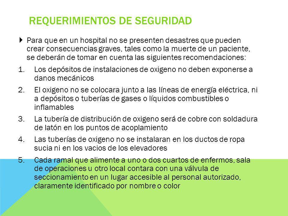 REQUERIMIENTOS DE SEGURIDAD Para que en un hospital no se presenten desastres que pueden crear consecuencias graves, tales como la muerte de un pacien