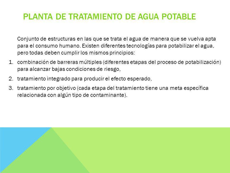 PLANTA DE TRATAMIENTO DE AGUA POTABLE Conjunto de estructuras en las que se trata el agua de manera que se vuelva apta para el consumo humano.