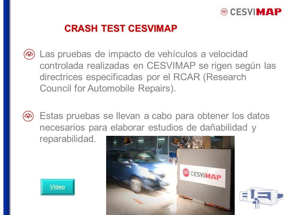 CRASH TEST CESVIMAP Las pruebas de impacto de vehículos a velocidad controlada realizadas en CESVIMAP se rigen según las directrices especificadas por el RCAR (Research Council for Automobile Repairs).
