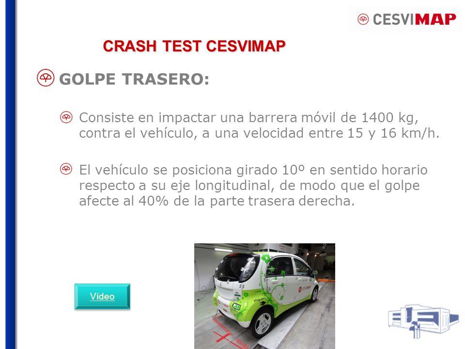 CRASH TEST CESVIMAP GOLPE TRASERO: Consiste en impactar una barrera móvil de 1400 kg, contra el vehículo, a una velocidad entre 15 y 16 km/h. El vehíc