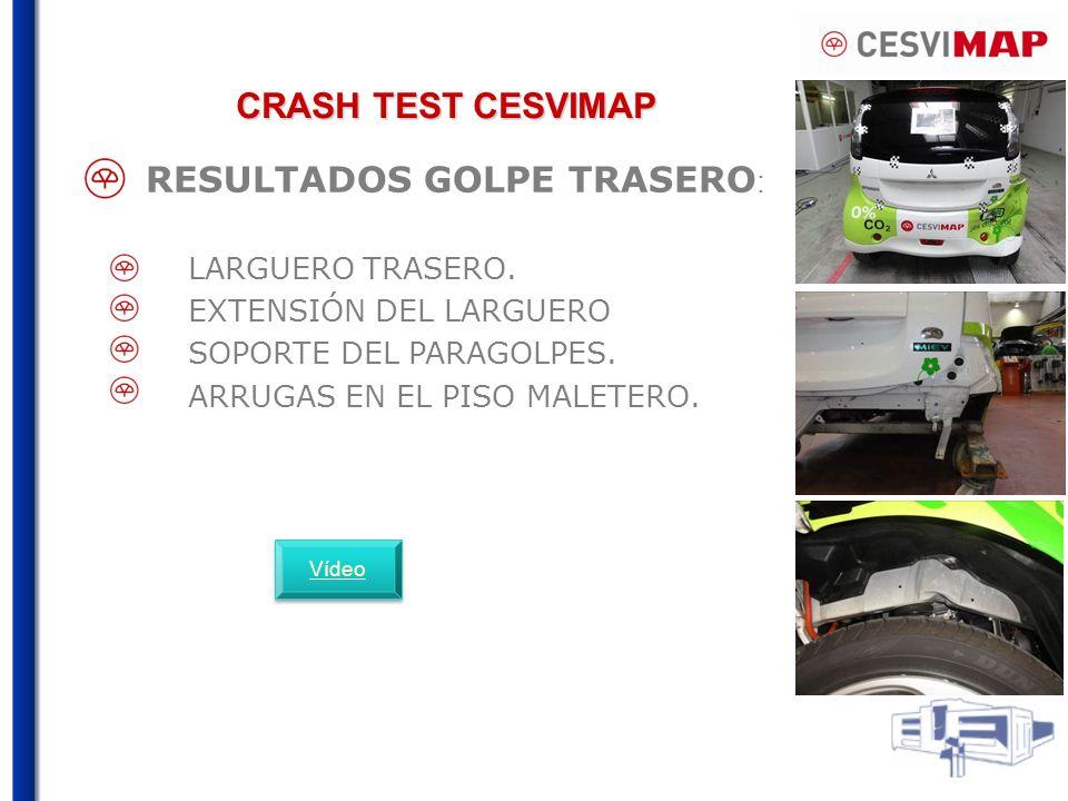 CRASH TEST CESVIMAP RESULTADOS GOLPE TRASERO : LARGUERO TRASERO.