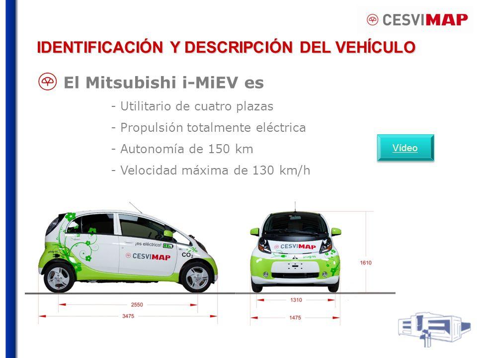 El Mitsubishi i-MiEV es - Utilitario de cuatro plazas - Propulsión totalmente eléctrica - Autonomía de 150 km - Velocidad máxima de 130 km/h IDENTIFICACIÓN Y DESCRIPCIÓN DEL VEHÍCULO Vídeo