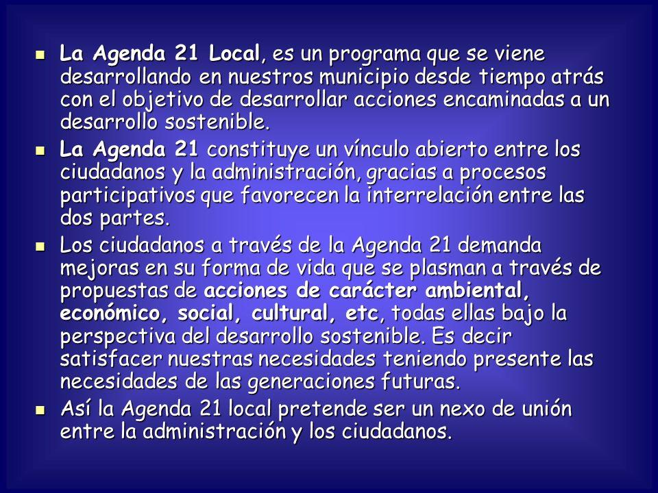 La Agenda 21 Local, es un programa que se viene desarrollando en nuestros municipio desde tiempo atrás con el objetivo de desarrollar acciones encaminadas a un desarrollo sostenible.