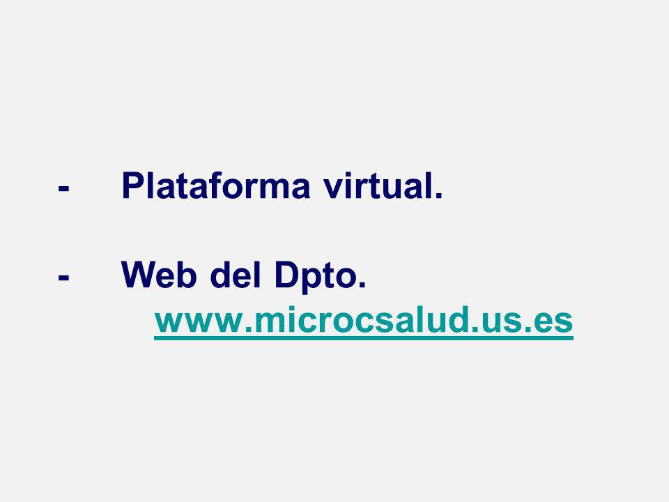 - Plataforma virtual. - Web del Dpto. www.microcsalud.us.eswww.microcsalud.us.es