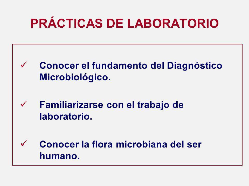 PRÁCTICAS DE LABORATORIO Conocer el fundamento del Diagnóstico Microbiológico.