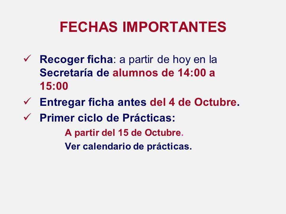 FECHAS IMPORTANTES Recoger ficha: a partir de hoy en la Secretaría de alumnos de 14:00 a 15:00 Entregar ficha antes del 4 de Octubre.