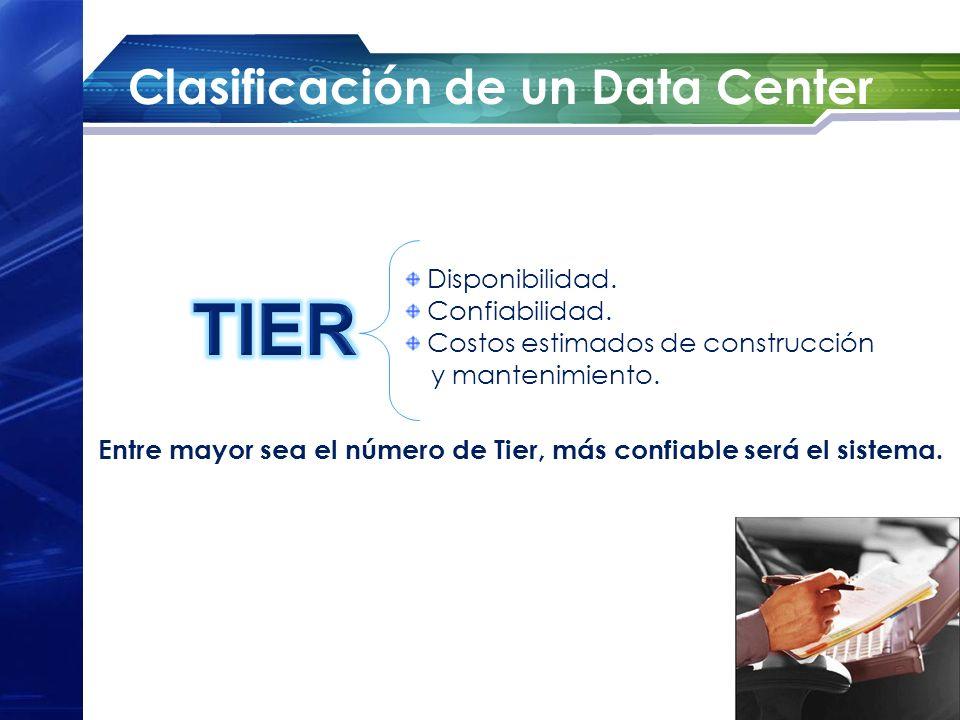 Clasificación de un Data Center Disponibilidad. Confiabilidad. Costos estimados de construcción y mantenimiento. Entre mayor sea el número de Tier, má
