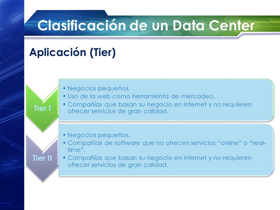 Clasificación de un Data Center Tier I Negocios pequeños. Uso de la web como herramienta de mercadeo. Compañías que basan su negocio en internet y no