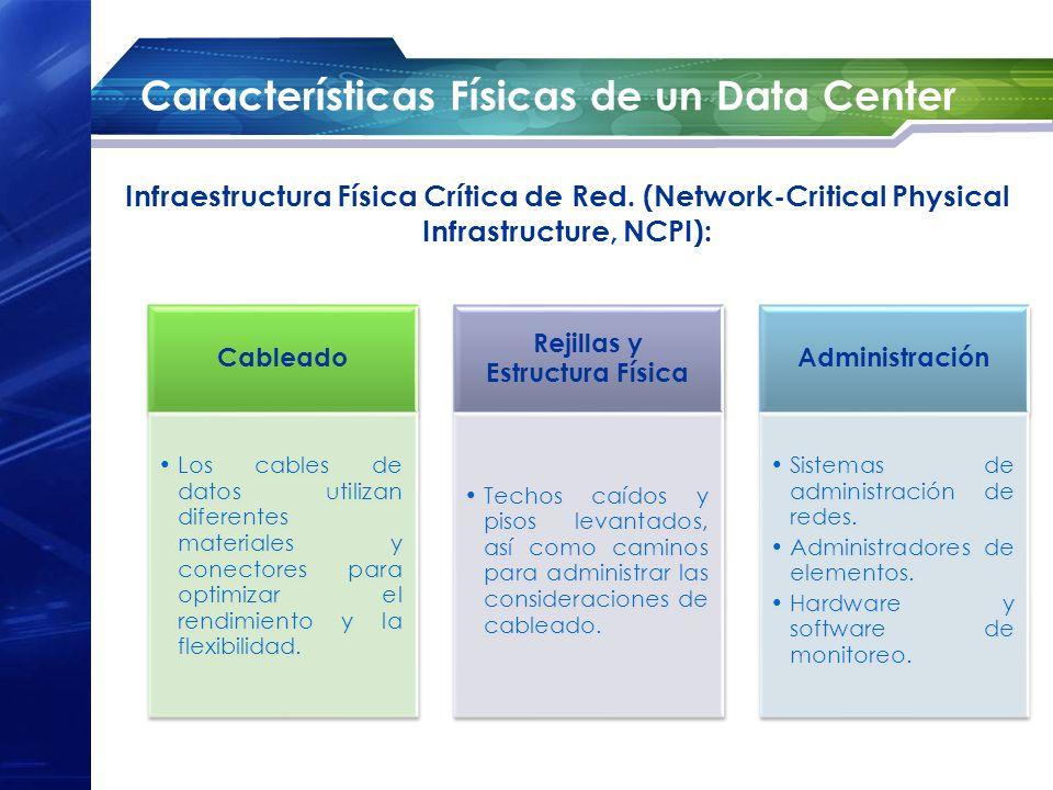 Características Físicas de un Data Center Infraestructura Física Crítica de Red. (Network-Critical Physical Infrastructure, NCPI): Cableado Los cables
