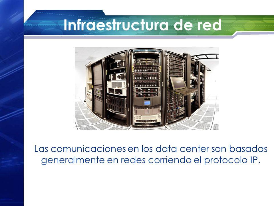 Infraestructura de red Las comunicaciones en los data center son basadas generalmente en redes corriendo el protocolo IP.