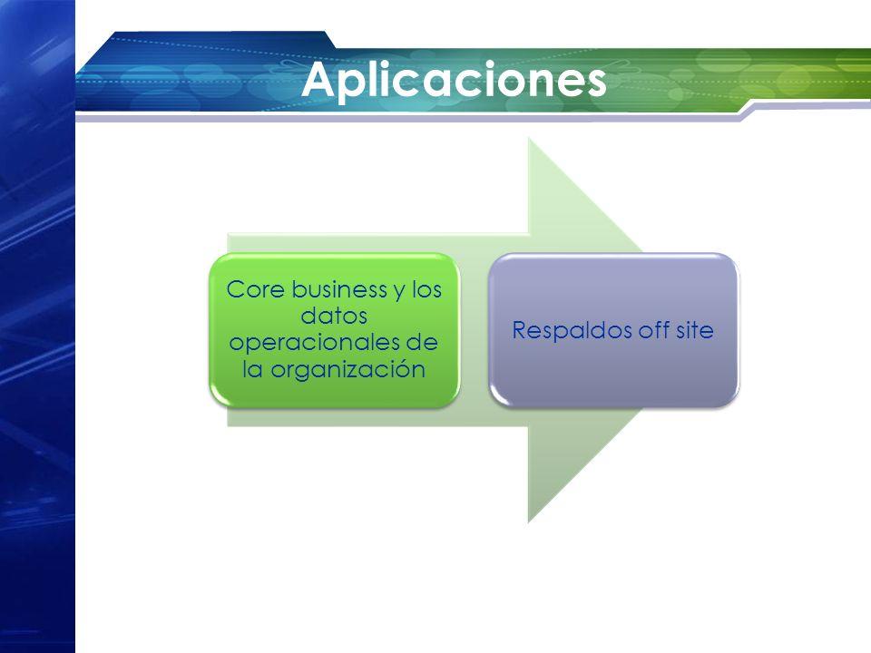 Aplicaciones Core business y los datos operacionales de la organización Respaldos off site