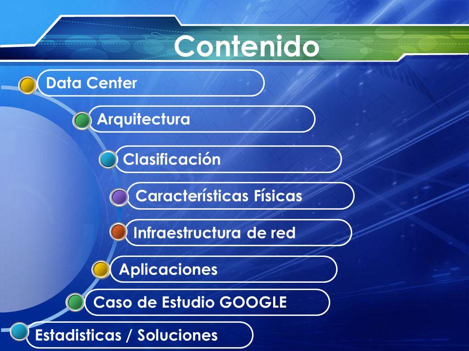 Infraestructura de red Características Físicas Clasificación Arquitectura Data Center Aplicaciones Caso de Estudio GOOGLE Estadisticas / Soluciones Co