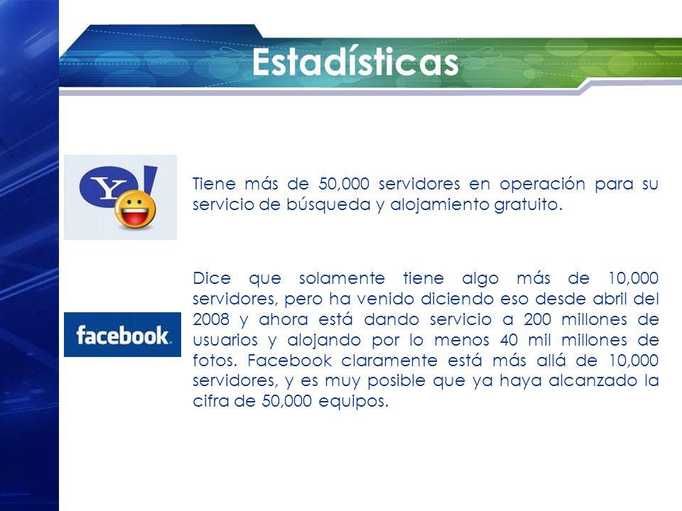 Estadísticas Tiene más de 50,000 servidores en operación para su servicio de búsqueda y alojamiento gratuito. Dice que solamente tiene algo más de 10,