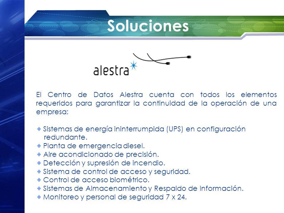 Soluciones El Centro de Datos Alestra cuenta con todos los elementos requeridos para garantizar la continuidad de la operación de una empresa: Sistema