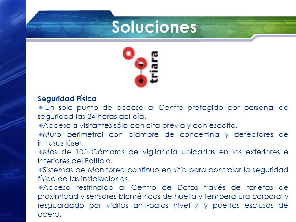 Soluciones Seguridad Física Un solo punto de acceso al Centro protegido por personal de seguridad las 24 horas del día. Acceso a visitantes sólo con c