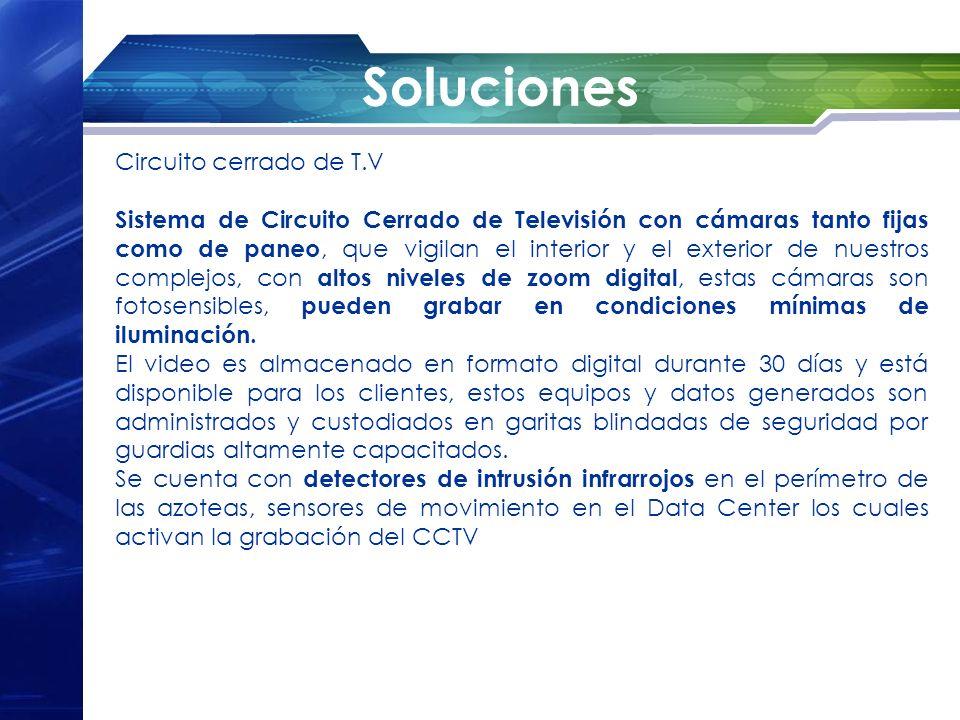 Soluciones Circuito cerrado de T.V Sistema de Circuito Cerrado de Televisión con cámaras tanto fijas como de paneo, que vigilan el interior y el exter