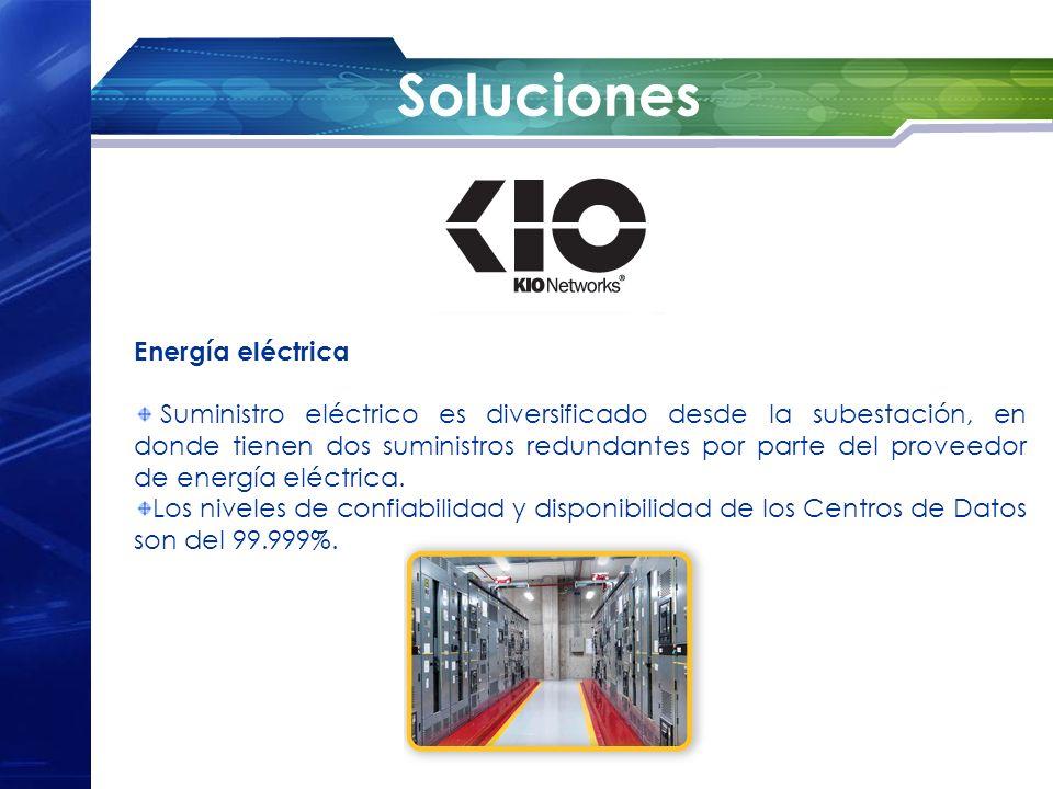 Soluciones Energía eléctrica Suministro eléctrico es diversificado desde la subestación, en donde tienen dos suministros redundantes por parte del pro