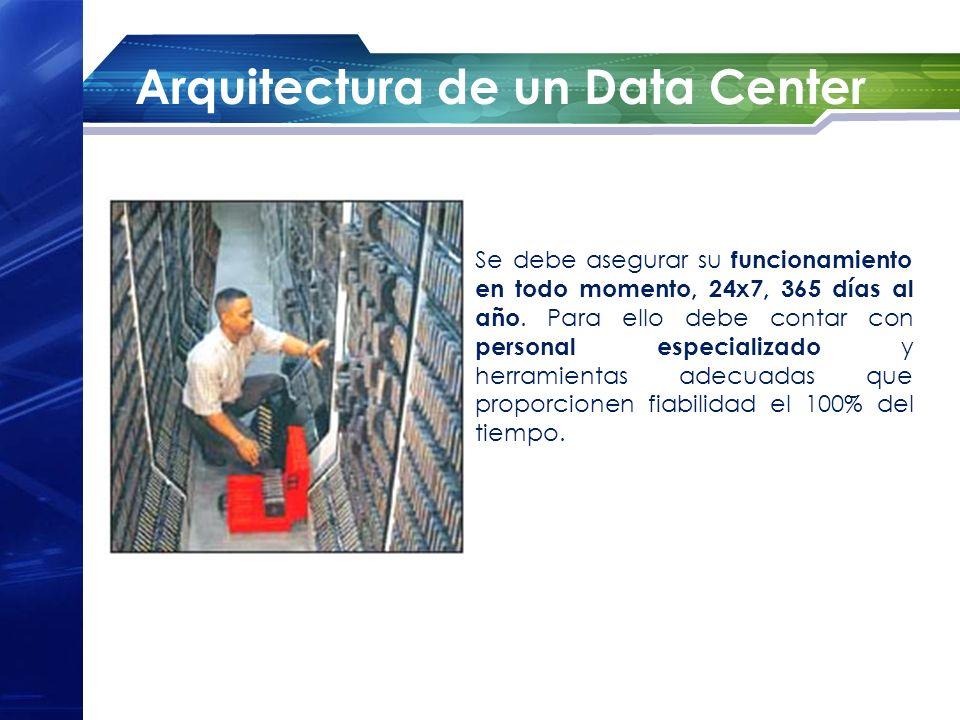 Arquitectura de un Data Center Se debe asegurar su funcionamiento en todo momento, 24x7, 365 días al año. Para ello debe contar con personal especiali
