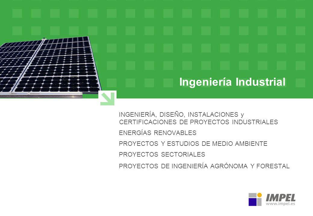 Ingeniería Industrial INGENIERÍA, DISEÑO, INSTALACIONES y CERTIFICACIONES DE PROYECTOS INDUSTRIALES ENERGÍAS RENOVABLES PROYECTOS Y ESTUDIOS DE MEDIO
