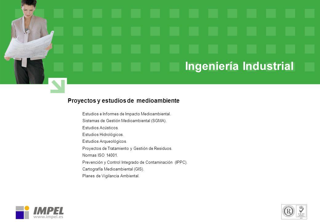 Ingeniería Industrial Proyectos y estudios de medioambiente Estudios e Informes de Impacto Medioambiental. Sistemas de Gestión Medioambiental (SGMA).