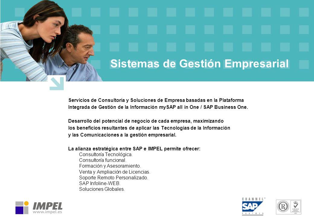 Sistemas de Gestión Empresarial Servicios de Consultoría y Soluciones de Empresa basadas en la Plataforma Integrada de Gestión de la Información mySAP