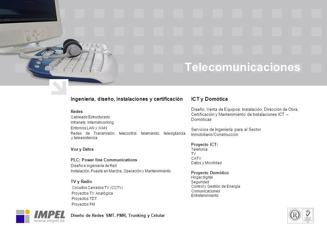 Telecomunicaciones Ingeniería, diseño, instalaciones y certificación Redes Cableado Estructurado Intranets. Internetworking Entornos LAN y WAN Redes d
