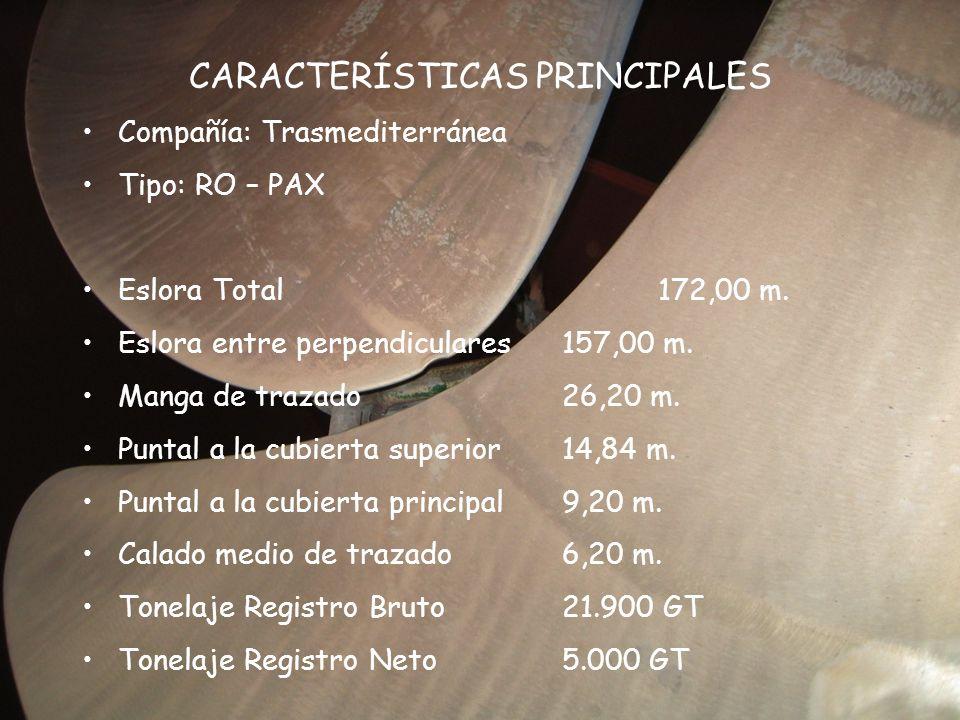 CAPACIDAD DE CARGA 988 Pasajeros: -720 en camarote 1800 metros lineales de carga rodada: -Garajes cubiertas 3, 5 y 6 -Bodega cubierta 1