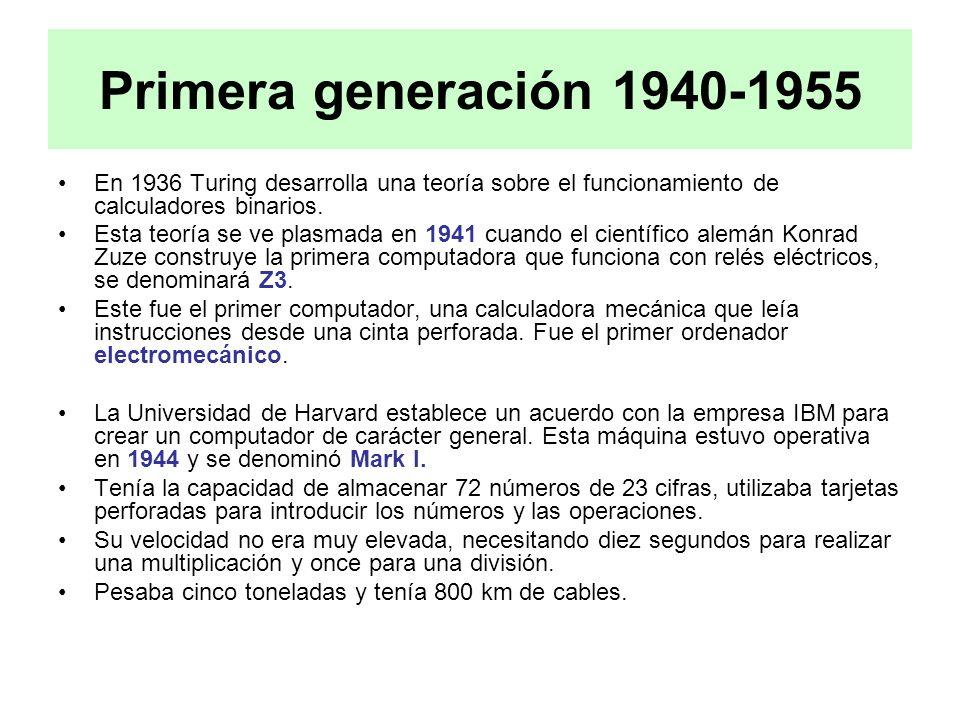 Primera generación 1940-1955 En 1936 Turing desarrolla una teoría sobre el funcionamiento de calculadores binarios. Esta teoría se ve plasmada en 1941