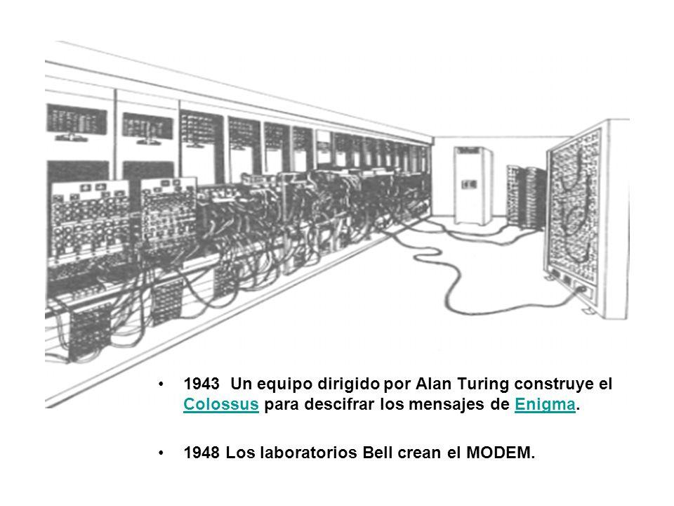 1943 Un equipo dirigido por Alan Turing construye el Colossus para descifrar los mensajes de Enigma. ColossusEnigma 1948Los laboratorios Bell crean el