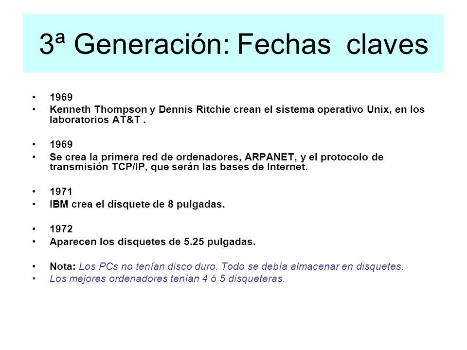 3ª Generación: Fechas claves 1969 Kenneth Thompson y Dennis Ritchie crean el sistema operativo Unix, en los laboratorios AT&T. 1969 Se crea la primera