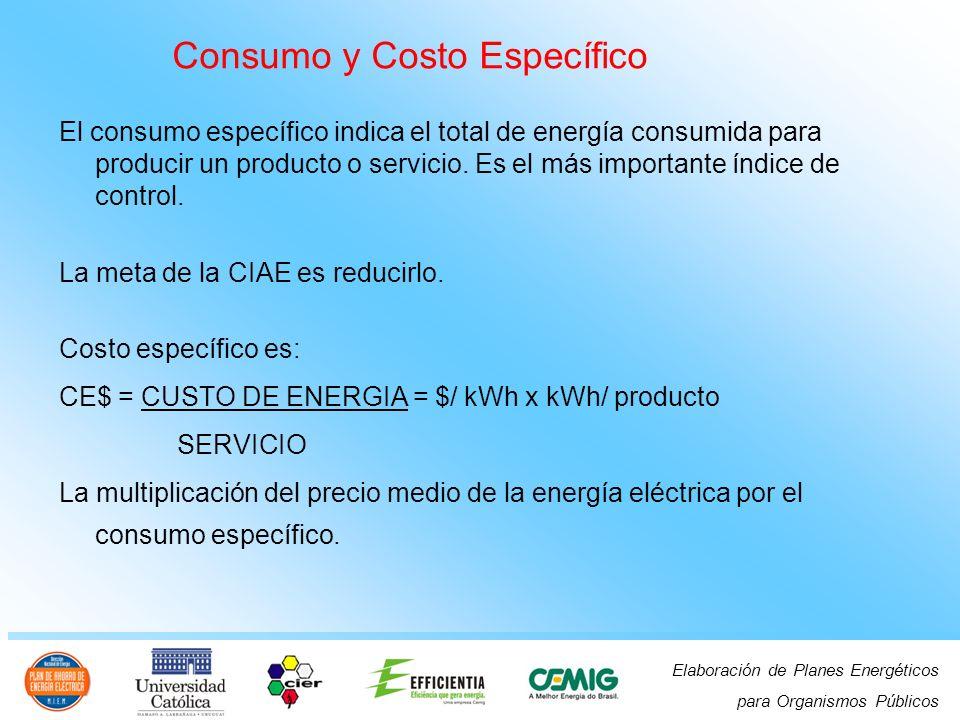 Elaboración de Planes Energéticos para Organismos Públicos Consumo y Costo Específico El consumo específico indica el total de energía consumida para producir un producto o servicio.