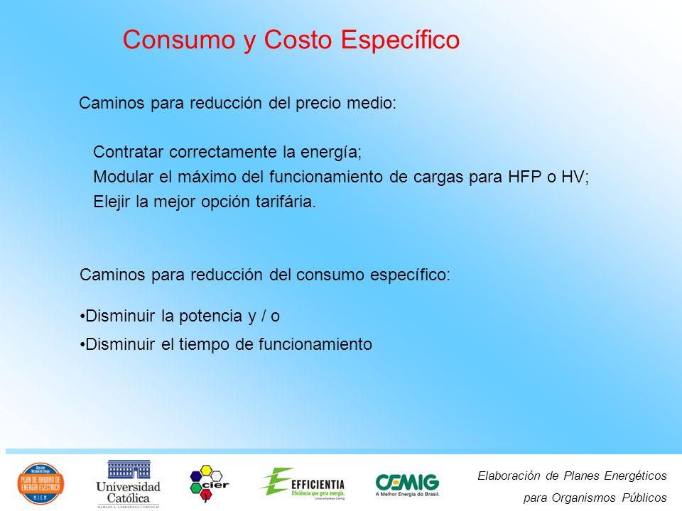 Elaboración de Planes Energéticos para Organismos Públicos Consumo y Costo Específico Caminos para reducción del precio medio: Contratar correctamente la energía; Modular el máximo del funcionamiento de cargas para HFP o HV; Elejir la mejor opción tarifária.