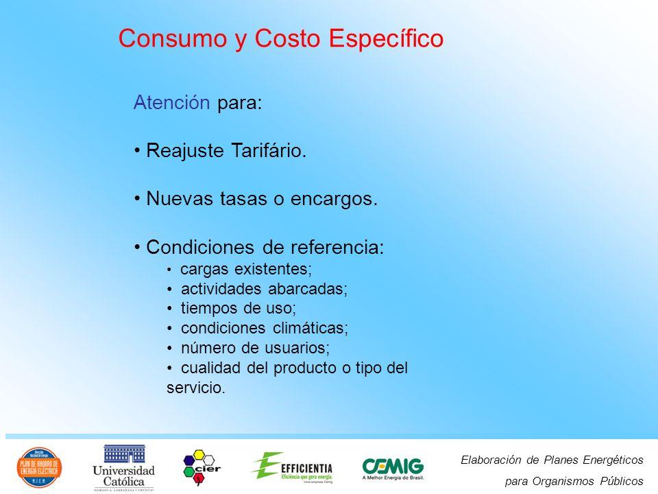 Elaboración de Planes Energéticos para Organismos Públicos Consumo y Costo Específico Atención para: Reajuste Tarifário.