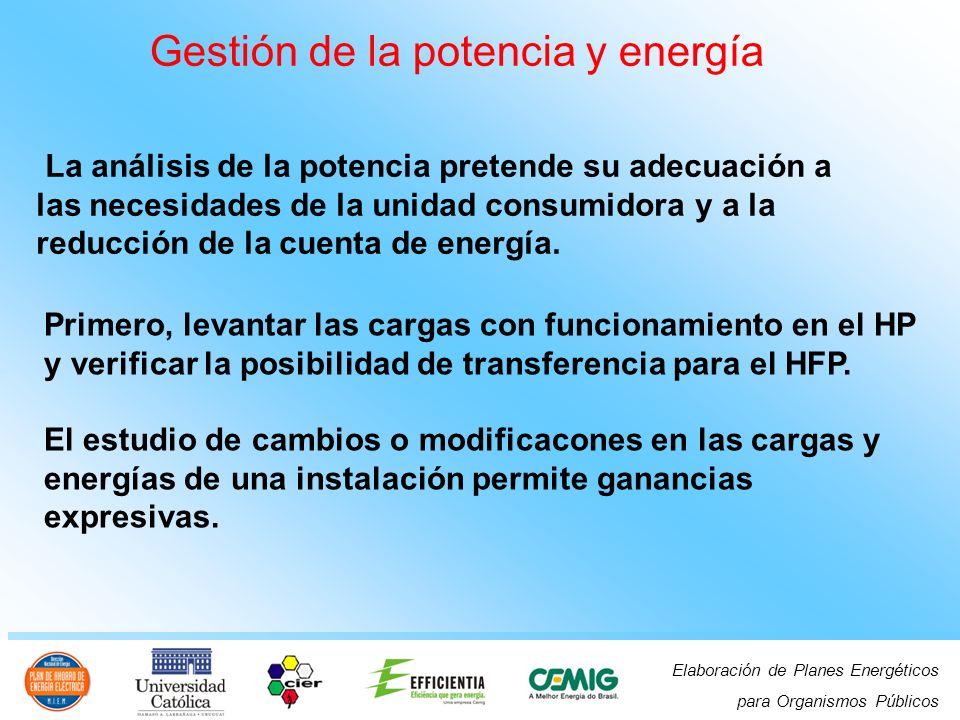 Elaboración de Planes Energéticos para Organismos Públicos La análisis de la potencia pretende su adecuación a las necesidades de la unidad consumidora y a la reducción de la cuenta de energía.
