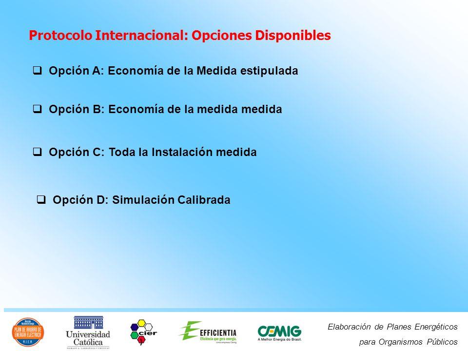 Elaboración de Planes Energéticos para Organismos Públicos Protocolo Internacional: Opciones Disponibles Opción A: Economía de la Medida estipulada Opción B: Economía de la medida medida Opción C: Toda la Instalación medida Opción D: Simulación Calibrada