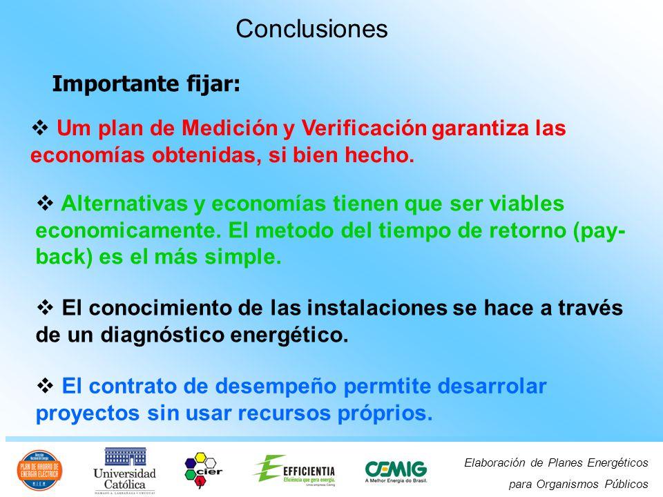 Elaboración de Planes Energéticos para Organismos Públicos Um plan de Medición y Verificación garantiza las economías obtenidas, si bien hecho.