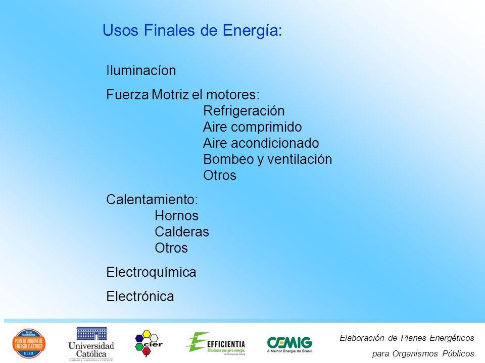 Elaboración de Planes Energéticos para Organismos Públicos Iluminacíon Fuerza Motriz el motores: Refrigeración Aire comprimido Aire acondicionado Bombeo y ventilación Otros Calentamiento: Hornos Calderas Otros Electroquímica Electrónica Usos Finales de Energía: