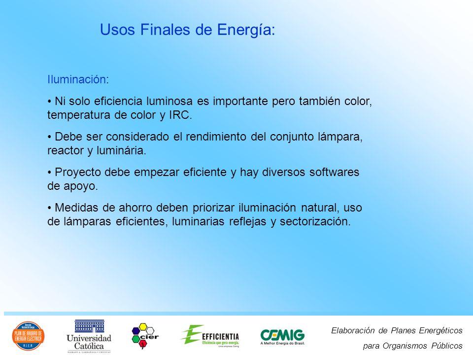 Elaboración de Planes Energéticos para Organismos Públicos Usos Finales de Energía: Iluminación: Ni solo eficiencia luminosa es importante pero también color, temperatura de color y IRC.