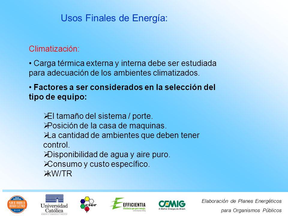 Elaboración de Planes Energéticos para Organismos Públicos Usos Finales de Energía: Climatización: Carga térmica externa y interna debe ser estudiada para adecuación de los ambientes climatizados.