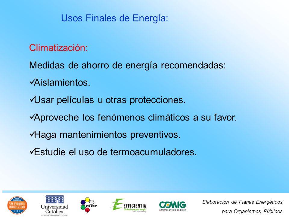 Elaboración de Planes Energéticos para Organismos Públicos Usos Finales de Energía: Climatización: Medidas de ahorro de energía recomendadas: Aislamientos.