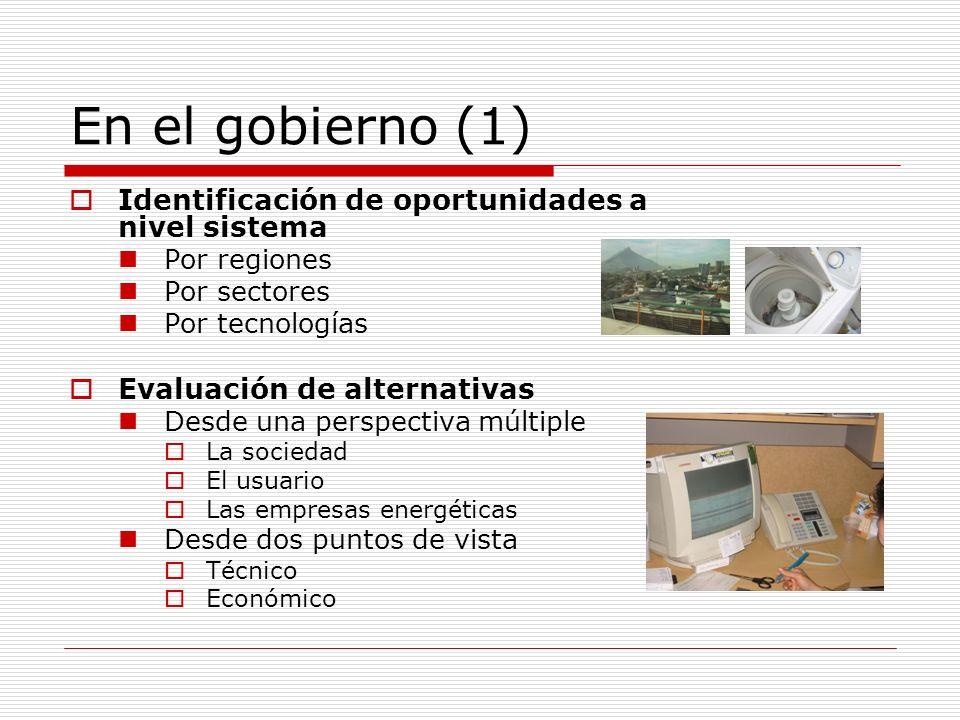 En el gobierno (2) Identificación y diseño de mecanismos de fomento y/o regulación Reglamentos técnicos Incentivos económicos Información Diseño de programas Conocimiento del mercado específico Identificación de actores Arquitectura institucional Flujos de recursos e información Parámetros de seguimiento y evaluación