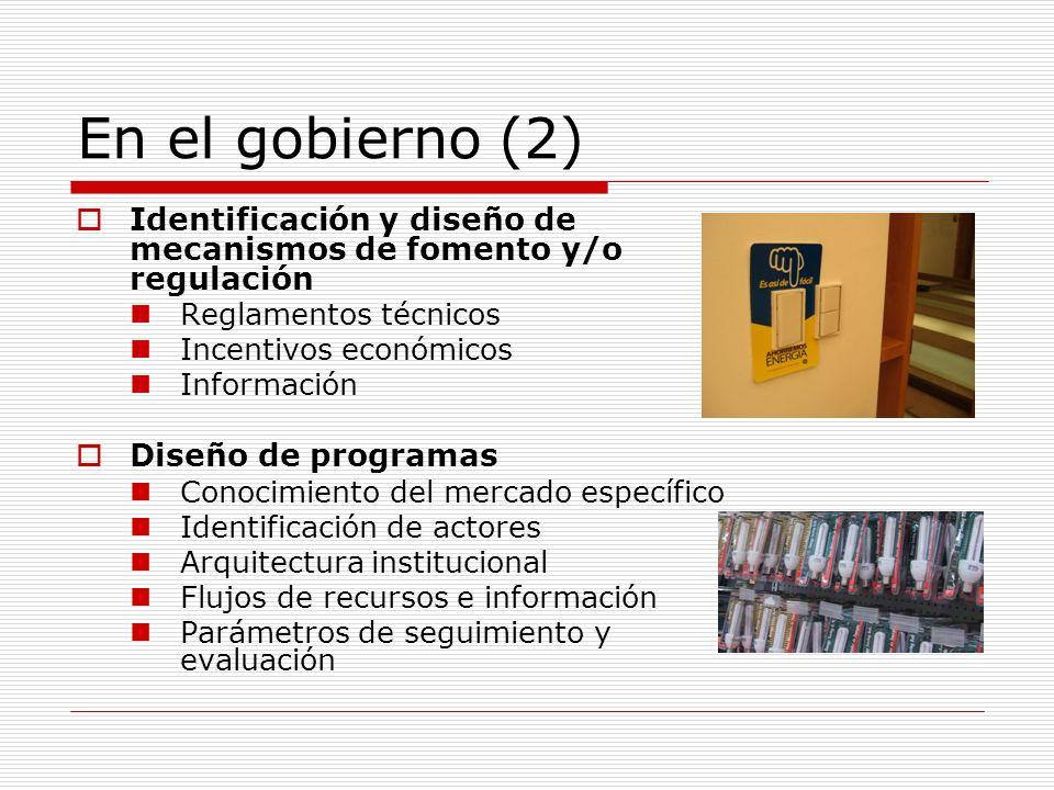 En el gobierno (3) Gestión de políticas Capacidad de evaluación económica Identificación, manejo y negociación de conflictos Conocimiento del marco legal Comunicación social Gestión de programas Manejo de recursos Personas Dinero Información Relaciones públicas Capacidad de comunicación