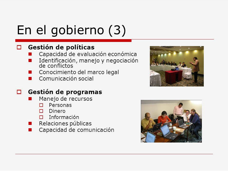En los grandes consumidores (1) Gestión de programas Liderazgo Capacidad de comunicación Manejo de grupos multidisciplinarios Ingenieros, abogados, contadores, técnicos especializados Conocimientos técnicos y económicos Conocimiento de las regulaciones