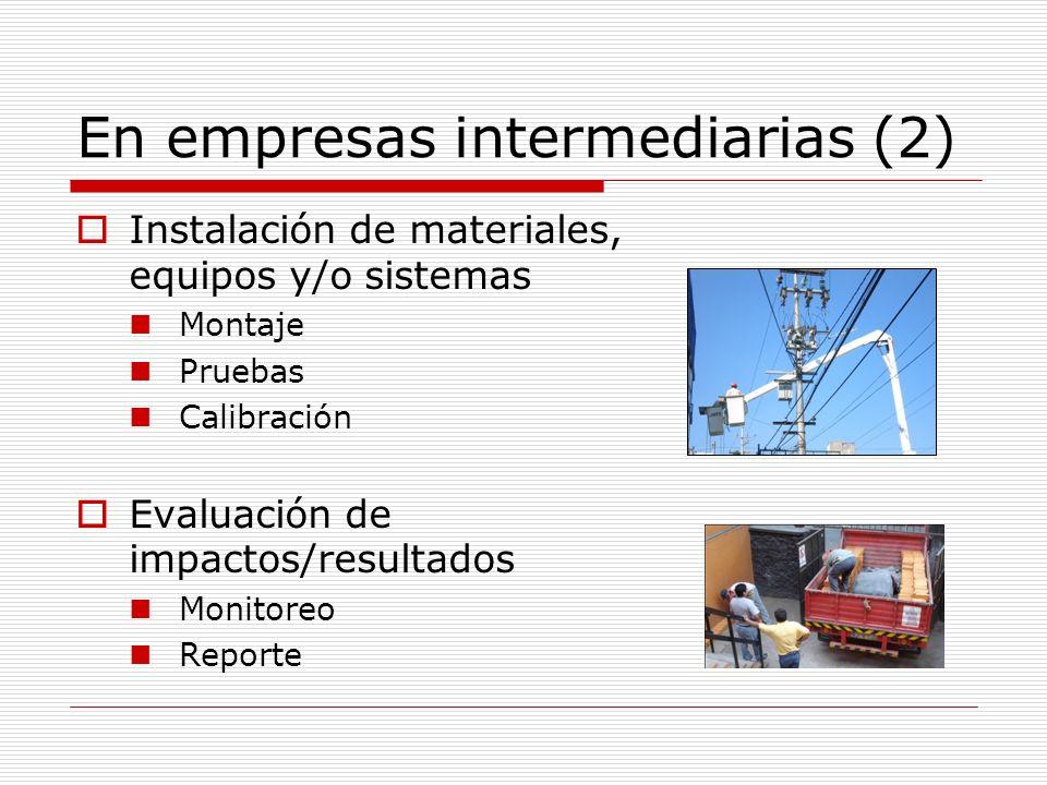 En los hogares (1) Conocimiento de las alternativas De sus costos de compra De sus costos de operación Conocimiento de los costos de la energía Conocimiento de la importancia relativa de los usos finales