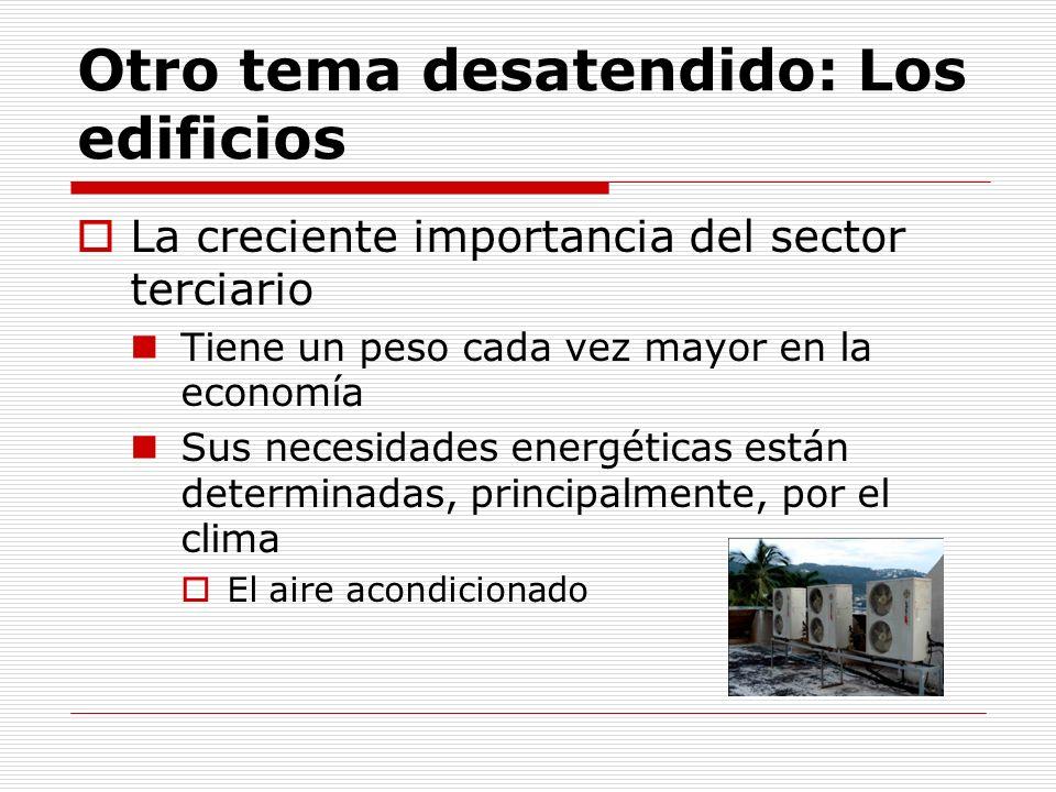 El PIB del sector servicios crece más que el industrial y el global desde 2000 Tomado de: UNEP, REGIONAL REPORT ON GREENHOUSE GAS EMISSION REDUCTION POTENTIALS FROM BUILDINGS: MEXICO