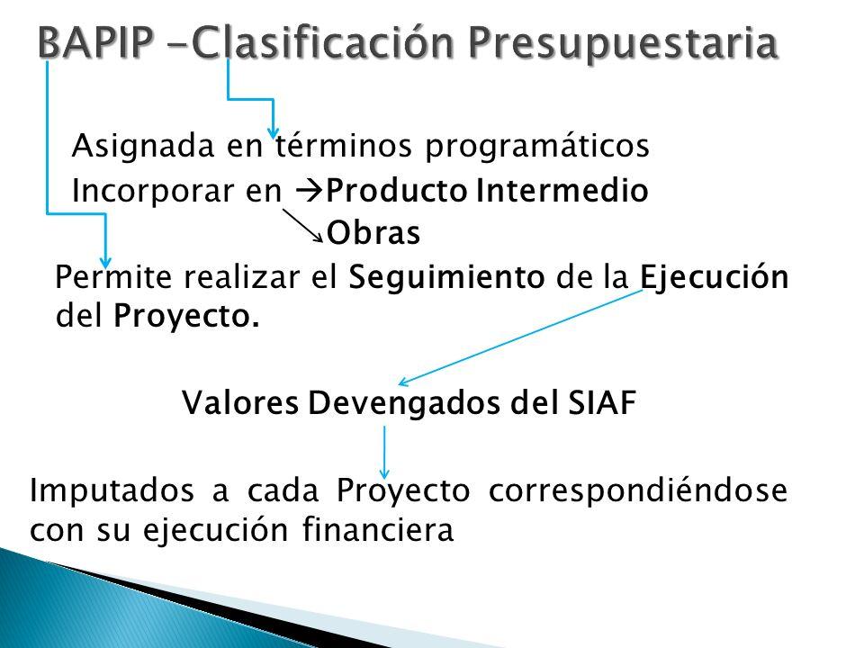 Asignada en términos programáticos Incorporar en Producto Intermedio Obras Permite realizar el Seguimiento de la Ejecución del Proyecto.