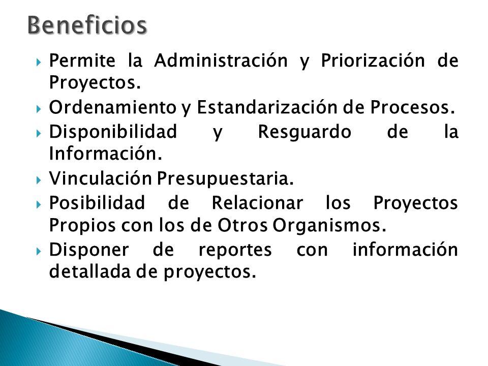 Permite la Administración y Priorización de Proyectos.