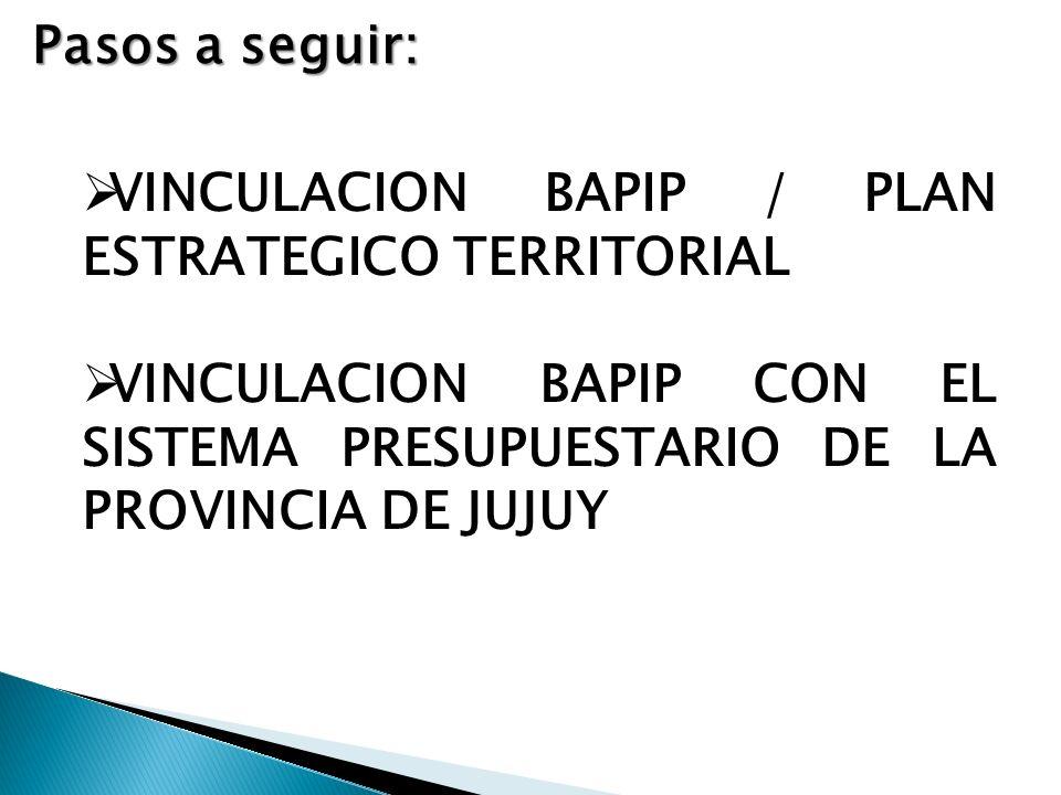 Pasos a seguir: VINCULACION BAPIP / PLAN ESTRATEGICO TERRITORIAL VINCULACION BAPIP CON EL SISTEMA PRESUPUESTARIO DE LA PROVINCIA DE JUJUY
