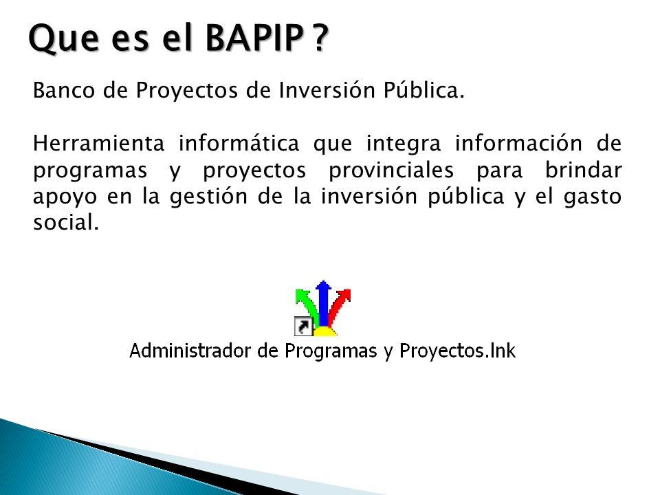 Banco de Proyectos de Inversión Pública.