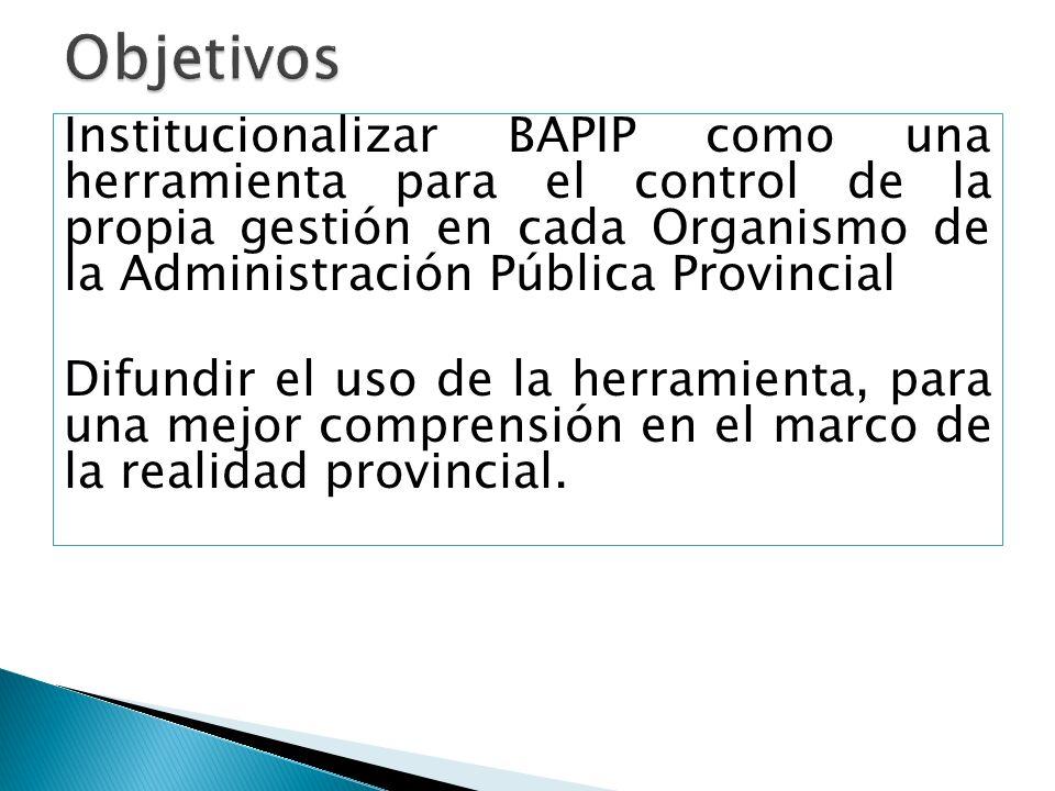 Institucionalizar BAPIP como una herramienta para el control de la propia gestión en cada Organismo de la Administración Pública Provincial Difundir el uso de la herramienta, para una mejor comprensión en el marco de la realidad provincial.